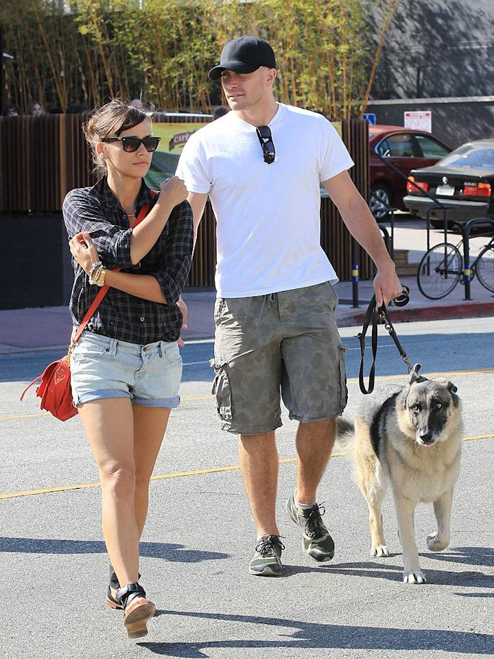 "Jake Gyllenhaal and his dog Atticus were spotted grabbing lunch at Gratitude in Los Angeles with Rashida Jones over Labor Day Weekend. Although Jake has had a thing for blondes in the past, we're sure the pretty brunette ""Parks and Recreation"" could bring him over to the dark side. Think they're dating? <a href=""http://www.splashnewsonline.com/"" target=""new"">Splash News</a> - September 4, 2011"