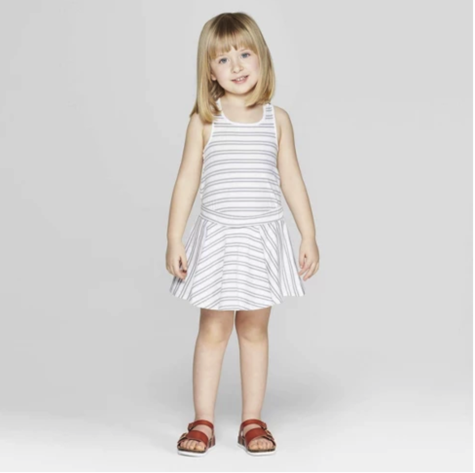 Mila & Emma Toddler Girls' Striped Circle Skirt Dress. (Photo: Target)