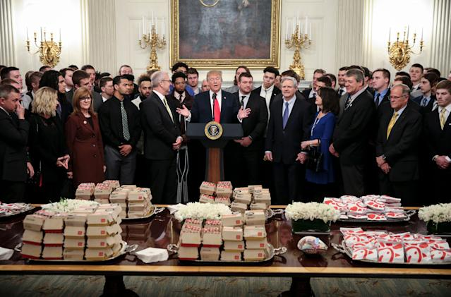 North Dakota State hung out and ate fast food with President Donald Trump on Monday. (Getty Images)