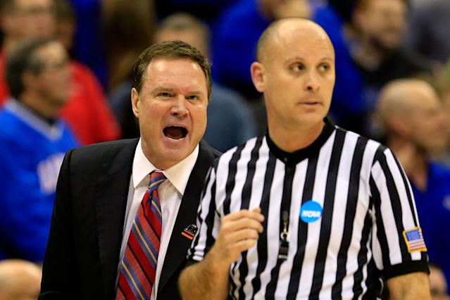 Head coach Bill Self of the Kansas Jayhawks yells at a referee in the first half against the North Carolina Tar Heels during the third round of the 2013 NCAA Men's Basketball Tournament at Sprint Center on March 24, 2013 in Kansas City, Missouri. (Photo by Jamie Squire/Getty Images)