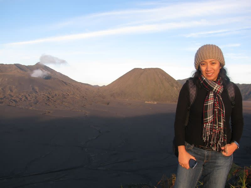 Ratih Purwarini, a doctor who passed away due to coronavirus disease, is pictured at Bromo Tengger Semeru National Park in Pasuruan
