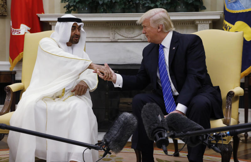 Crown Prince Mohammed bin Zayed al-Nahyan and President Donald Trump shake handsat the White House in May 2017. (Kevin Lamarque/Reuters)