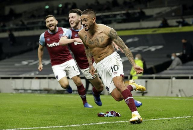 Manuel Lanzini salvaged a point for West Ham with a stunner at the death