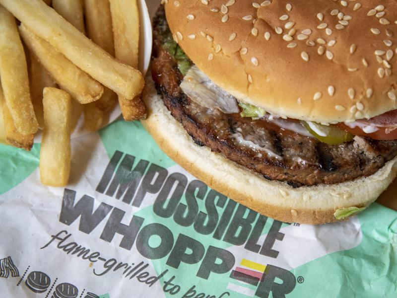 In this photo illustration, the new Impossible Whopper sits on a table on August 8, 2019: Getty Images