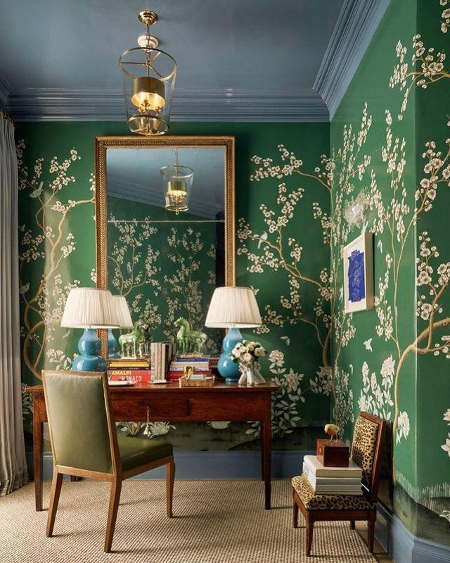"""<p>Who needs a mirror when you can stare at this green chinoiserie? </p><p><a href=""""https://www.instagram.com/p/CMh0zvJstTg/?igshid=wr1fszv2nlbl"""" rel=""""nofollow noopener"""" target=""""_blank"""" data-ylk=""""slk:See the original post on Instagram"""" class=""""link rapid-noclick-resp"""">See the original post on Instagram</a></p>"""