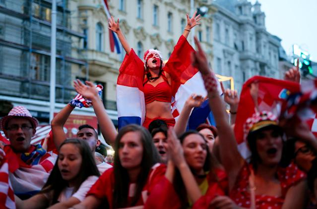 Soccer Football - World Cup - Group D - Argentina vs Croatia - Zagreb - Croatia - June 21, 2018 - Croatia's fans react during the match. REUTERS/Antonio Bronic