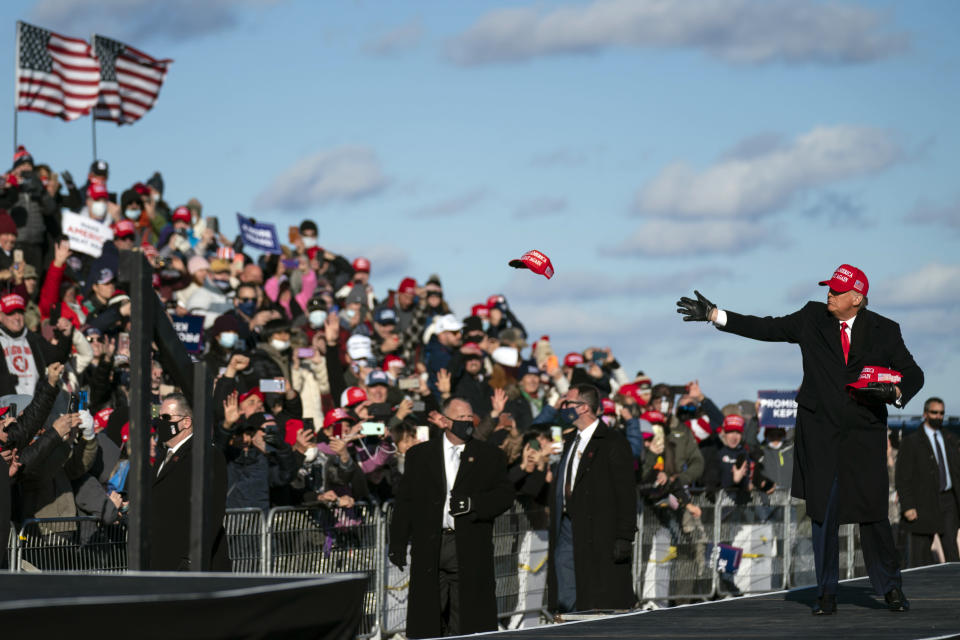 President Donald Trump arrives for a campaign rally at Wilkes-Barre Scranton International Airport, Monday, Nov. 2, 2020, in Avoca, Pa. Pennsylvania, where the candidates Vice President Joe Biden and Trump appeared to be divided by a razor-thin margin for the state's 20 electoral votes, seemed likely to be the epicenter of any potential post-election litigation. (AP Photo/Evan Vucci)