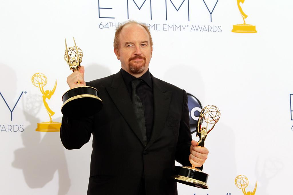Louis C.K. poses in the press room at the 64th Primetime Emmy Awards at the Nokia Theatre in Los Angeles on September 23, 2012.