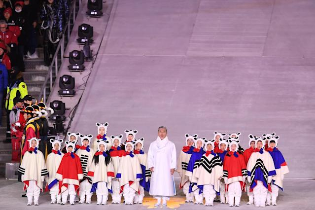 <p>Singer Jang Sa-ik performs the Korean national anthem during the Closing Ceremony of the PyeongChang 2018 Winter Olympic Games at PyeongChang Olympic Stadium on February 25, 2018 in Pyeongchang-gun, South Korea. (Photo by David Ramos/Getty Images) </p>