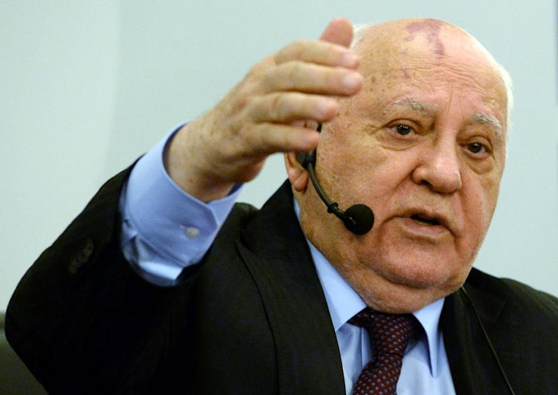 "Former Soviet leader Mikhail Gorbachev, seen in Moscow on November 20, 2014, urged Moscow and Berlin to ""re-establish trust"" amid fierce tension caused by the ongoing Ukraine crisis (AFP Photo/Vasily Maximov)"