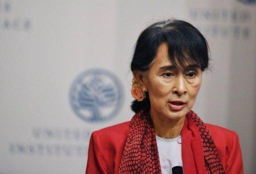 Myanmar member of parliament and democracy icon Aung San Suu Kyi speaks at the United States Institute of Peace in Washington. President Barack Obama will meet with the democracy icon at the White House, his first ever meeting with the Myanmar opposition leader