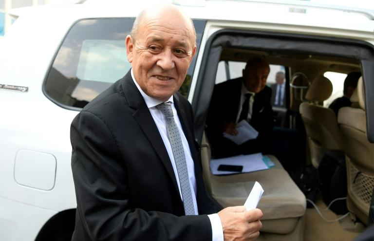 French Foreign Affairs Minister Jean-Yves Le Drian in Tunisia for talks on the Libyan conflict (AFP Photo/FETHI BELAID)
