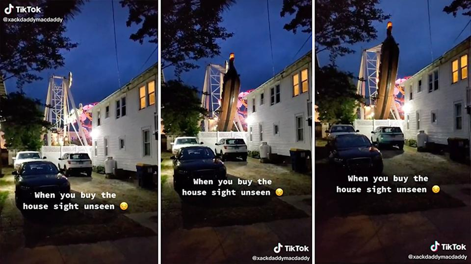 A TikTok of a home right next to an amusement park in the US went viral on TikTok. Source: TikTok/xackdaddymacdaddy