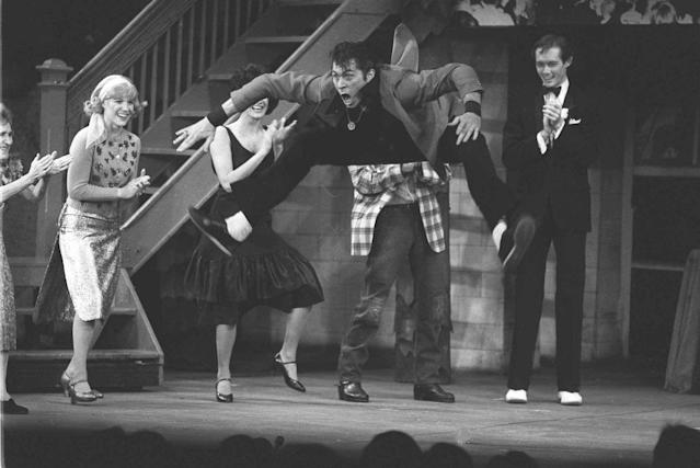Barry Bostwick (the original Danny Zuko) performs during the high school dance contest scene in <em>Grease</em> on Broadway in 1979. (Photo: Richard Drew/AP)