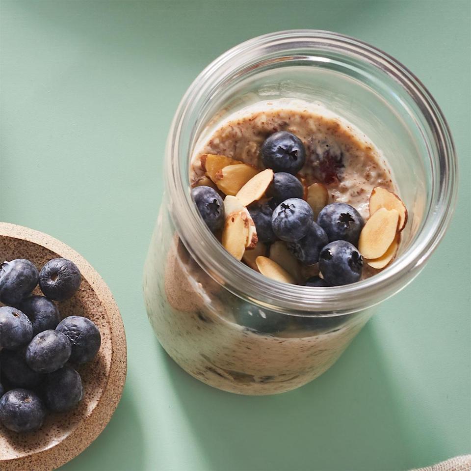 """<p>Overnight oats can simplify your morning routine while still providing a hearty, nutritious breakfast. You can prepare this in a 2-cup mason jar or other to-go container if you usually transport your breakfast. <a href=""""https://www.eatingwell.com/recipe/280186/vanilla-cranberry-overnight-oatmeal/"""" rel=""""nofollow noopener"""" target=""""_blank"""" data-ylk=""""slk:View Recipe"""" class=""""link rapid-noclick-resp"""">View Recipe</a></p>"""