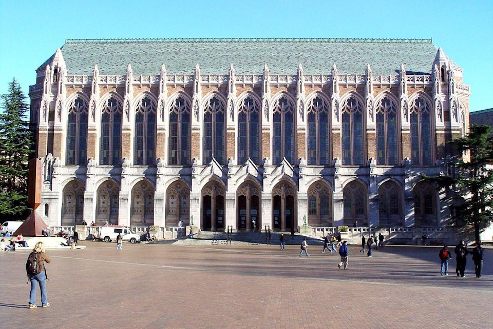 <p>The school's Suzzallo Library at has 35-foot-high stained-glass windows that give it a distinctly gothic feel. The school's Drumheller Fountain also offers views of the imposing yet majestic Mount Rainier.</p>