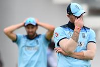 Stokes reacts after missing a catch (Photo by Glyn KIRK / AFP)