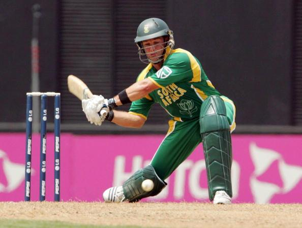 ST GEORGE'S, GRENADA - APRIL 10:  Mark Boucher hits another 6 in his innings of 52 during the Cricket World Cup Super 8 match between South Africa and West Indies at the Grenada National Stadium on April 10, 2007 in St George's, Grenada.  (Photo by Duif du Toit/Gallo Images/Getty Images)
