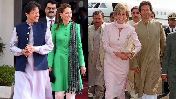 PHOTO: Left: Prime Minister of Pakistan, Imran Khan and Kate, Duchess of Cambridge in Islamabad, Oct. 15, 2019. Right: Princess Diana with Imran Khan in Lahore, Pakistan, Feb. 20, 1996. (Getty Images)