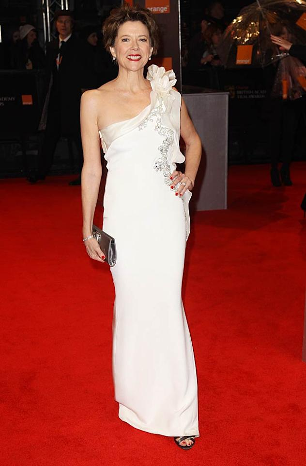 "Meanwhile at BAFTA's annual film awards ceremony, Oscar nominee Annette Bening exemplified elegance in a white, one-shoulder Marchesa masterpiece and diamond accents. Dave Hogan/<a href=""http://www.gettyimages.com/"" target=""new"">GettyImages.com</a> - February 13, 2011"