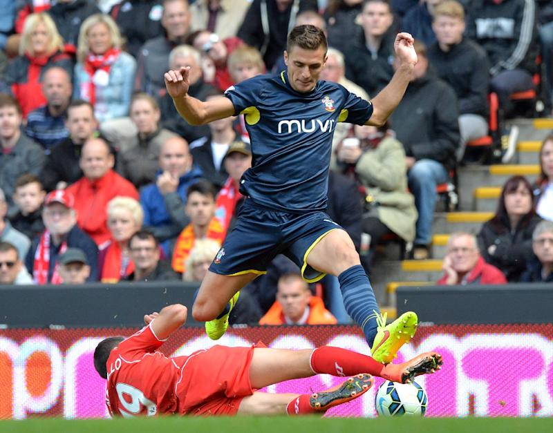 Southampton's Serbian midfielder Dusan Tadic during the English Premier League football match between Liverpool and Southampton at Anfield stadium in Liverpool on August 17, 2014