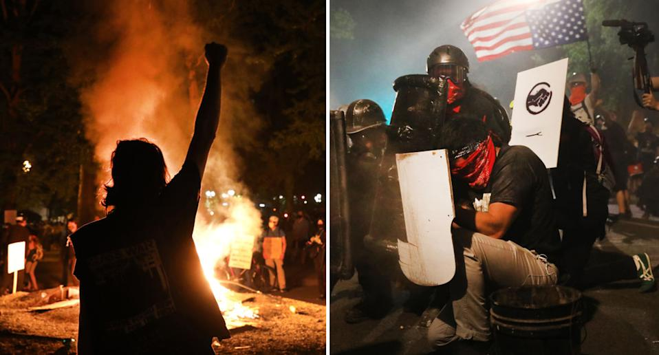 Protesters continued to violently clash with federal agents in the city of Portland this week as BLM demonstrations persist. Source: Getty