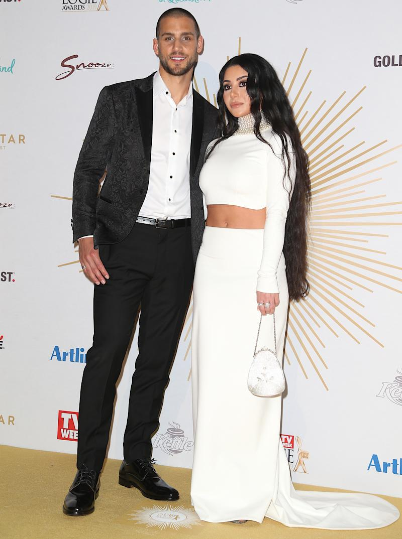 Married At First Sight stars Martha Kalifatidis and Michael Brunelli on the 2019 Logies red carpet