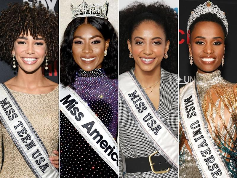 Miss Teen USA Kaliegh Garris; Miss America Nia Franklin; Miss USA Cheslie Kryst; and Miss Universe Zozibini Tunzi | Derek White/Shutterstock; Kristin Callahan/ACE Pictures/Shutterstock; Taylor Hill/Getty; Paras Griffin/Getty