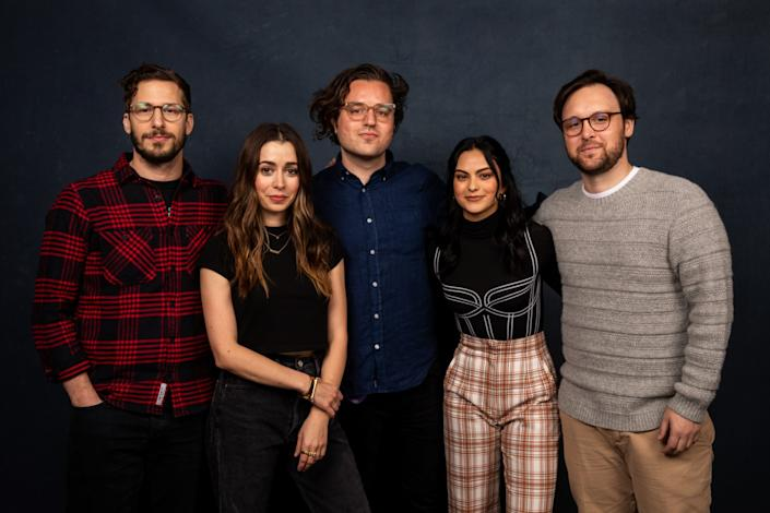 """The """"Palm Springs"""" team together at the Sundance Film Festival in January. From left, actors Andy Samberg and Cristin Milioti, with screenwriter Andy Siara, actor Camila Mendes and director Max Barbakow in the L.A. Times Studio in Park City, Utah. <span class=""""copyright"""">(Jay L. Clendenin/Los Angeles Times)</span>"""