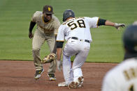 Pittsburgh Pirates' Jacob Stallings (58) slides safely into second with a double ahead of the tag by San Diego Padres second baseman Jurickson Profar during the first inning of a baseball game in Pittsburgh, Tuesday, April 13, 2021. (AP Photo/Gene J. Puskar)