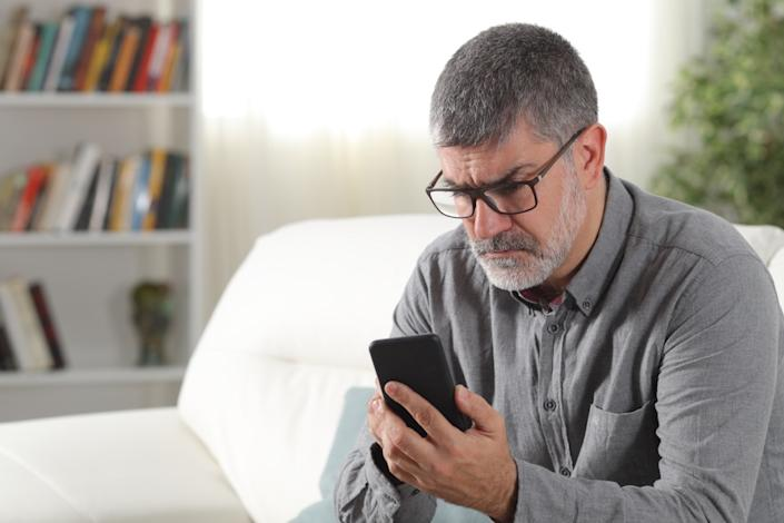 Man confused by text