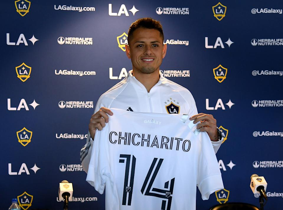 """Javier """"Chicharito"""" Hernandez, the Mexican national team's all-time top scorer, was introduced as an LA Galaxy player this week. (Harry How/Getty)"""