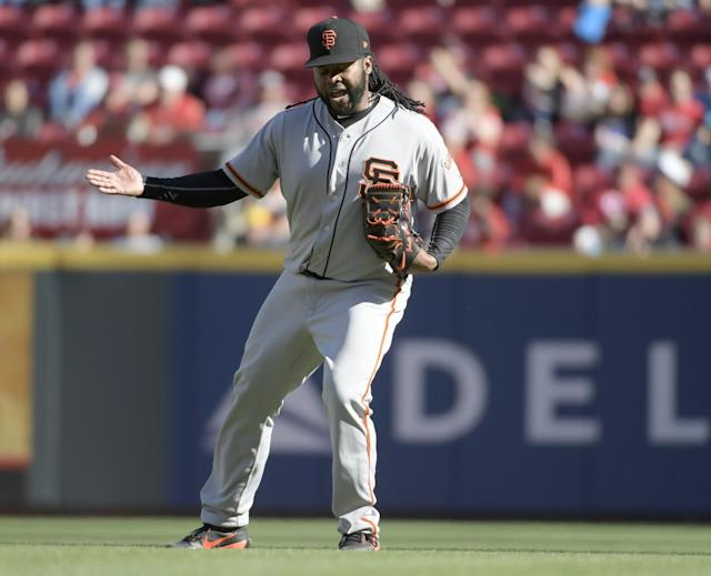 After getting swept by the Reds, and outscored 31-5, the Giants' troubles in Cincinnati still weren't over. (AP Photo/Michael E. Keating)