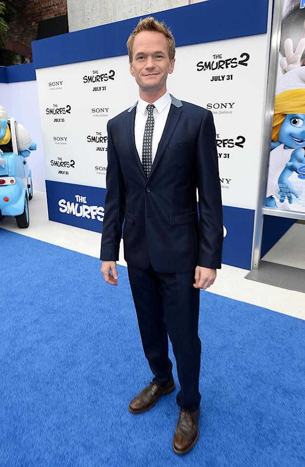 "WESTWOOD, CA - JULY 28:  Actor Neil Patrick Harris attends the Los Angeles premiere of ""The Smurfs 2"" at Regency Village Theatre on July 28, 2013 in Westwood, California.  (Photo by Michael Buckner/Getty Images for SONY)"