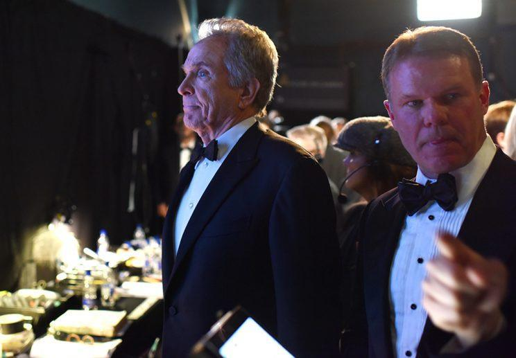 Warren Beatty and Brian Cullinan backstage at the 89th Annual Academy Awards, Los Angeles (Photo: Andrew H. Walker/REX/Shutterstock)<br>