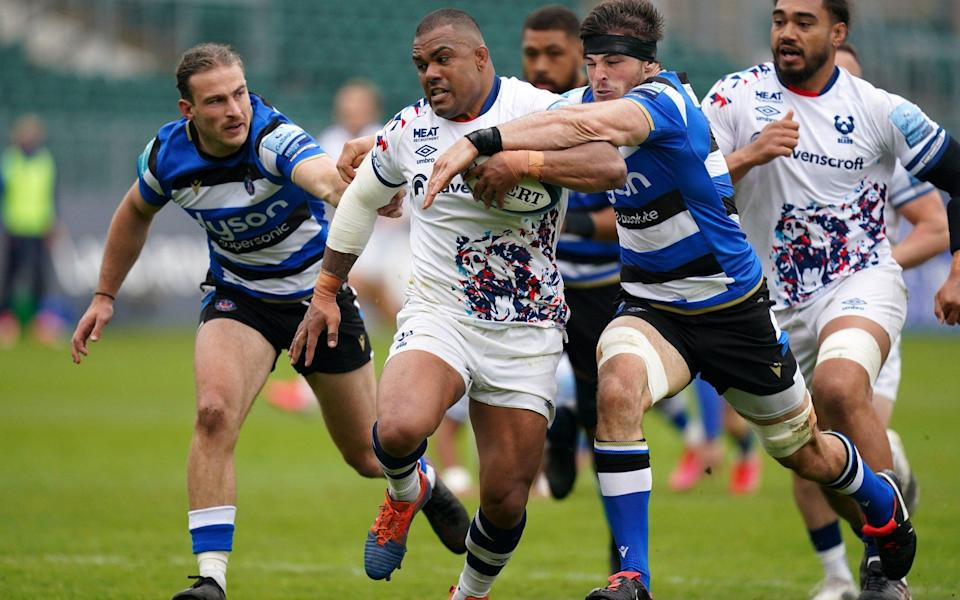 Kyle Sinckler on the charge for Bristol, was left out of the Lions squad - PA