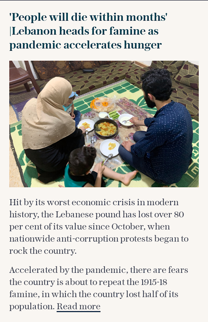 Lebanon heads for famine as pandemic accelerates hunger