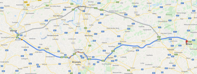 Gent and Genk are around 150km (93miles) apart (Google maps)