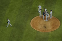 Tampa Bay Rays starting pitcher Blake Snell leaves the game against the Los Angeles Dodgers during the sixth inning in Game 6 of the baseball World Series Tuesday, Oct. 27, 2020, in Arlington, Texas. (AP Photo/David J. Phillip)