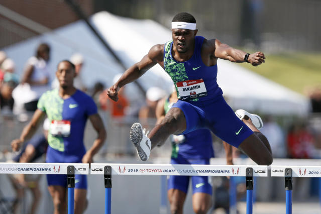Rai Benjamin clears a hurdle during the men's 400-meter hurdles at the U.S. Championships athletics meet, Saturday, July 27, 2019, in Des Moines, Iowa. (AP Photo/Charlie Neibergall)