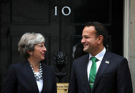 Britain's Prime Minister Theresa May welcomes Ireland's Taoiseach Leo Varadkar to Downing Street in London, September 25, 2017. REUTERS/Hannah McKay