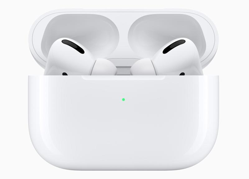The AirPods Pro have a new design with shorter stems and silicone ear tips. (Image: Apple)