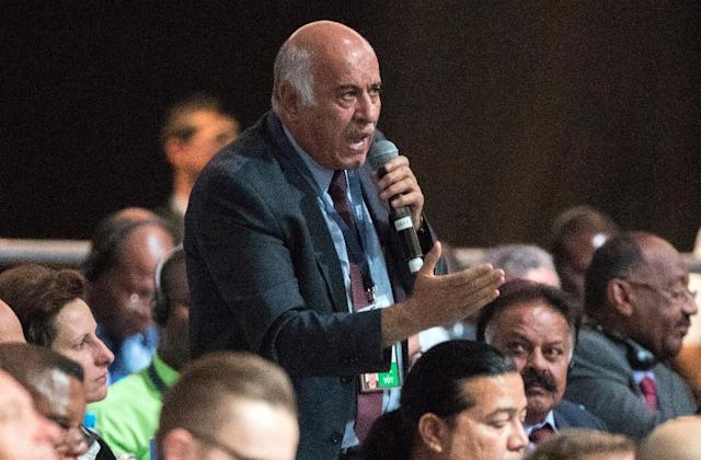 In this file picture taken on May 11, 2017 chairman of the Palestinian Football Association, Jibril Rajoub, speaks during the 67th FIFA Congress in the Bahraini capital Manama (AFP Photo/JACK GUEZ)