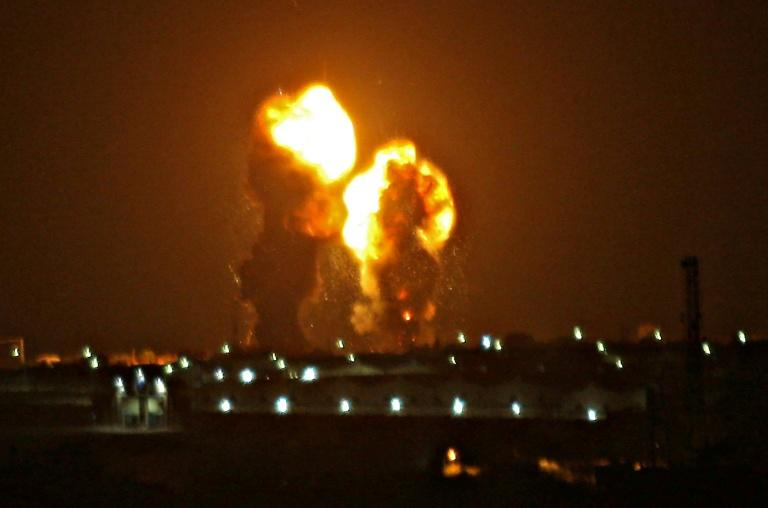 The Israeli strikes on the Gaza Strip triggered huge fireballs that lit up the sky (AFP Photo/ABED RAHIM KHATIB)