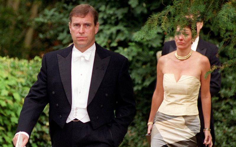 Ghislaine Maxwell and the Duke of York arriving at a wedding in Wiltshire in 2000 - Stewart Mark