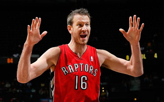 ATLANTA, GA - MARCH 18: Steve Novak #16 of the Toronto Raptors reacts after being called for a foul against the Atlanta Hawks at Philips Arena on March 18, 2014 in Atlanta, Georgia. NOTE TO USER: User expressly acknowledges and agrees that, by downloading and or using this photograph, User is consenting to the terms and conditions of the Getty Images License Agreement. (Photo by Kevin C. Cox/Getty Images)