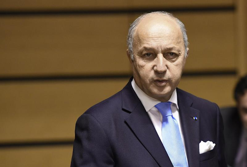 """""""My colleagues all agree that the idea of an Ebola coordinator is a good one,"""" French Foreign Minister Laurent Fabius told reporters after a meeting with EU counterparts in Luxembourg (AFP Photo/Emmanuel Dunand)"""