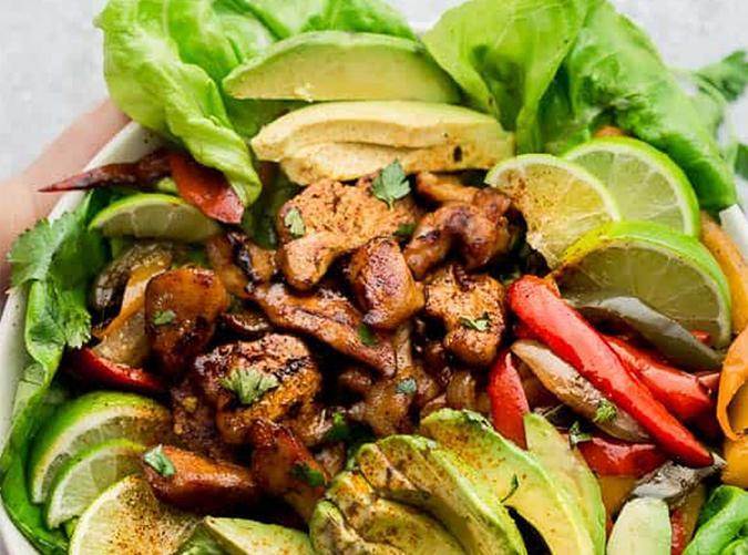 """<h2>10. Low-Carb Chicken Fajita Salad</h2> <p>If you must have salad, do it like this.</p> <p><a class=""""link rapid-noclick-resp"""" href=""""https://lifemadesweeter.com/low-carb-chicken-fajita-salad/"""" rel=""""nofollow noopener"""" target=""""_blank"""" data-ylk=""""slk:Get the recipe"""">Get the recipe</a></p>"""