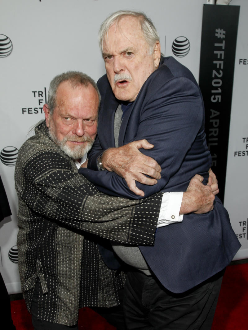 "Terry Gilliam, left, and John Cleese, right, attend a special Tribeca Film Festival screening of ""Monty Python and the Holy Grail"" at the Beacon Theatre on Friday, April 24, 2015, in New York. (Photo by Andy Kropa/Invision/AP)"