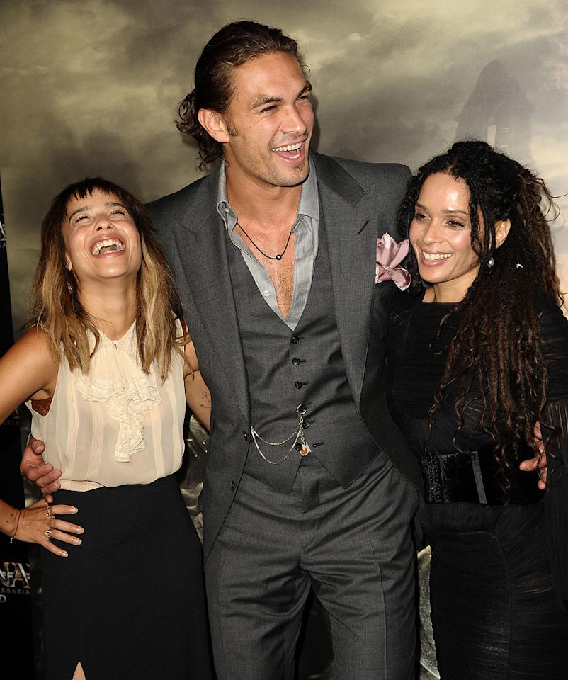 "<a href=""http://movies.yahoo.com/movie/contributor/1809753401"">Zoe Kravitz</a>, <a href=""http://movies.yahoo.com/movie/contributor/1809051437"">Jason Momoa</a> and <a href=""http://movies.yahoo.com/movie/contributor/1800018126"">Lisa Bonet</a> at the Los Angeles premiere of <a href=""http://movies.yahoo.com/movie/1809953260/info"">Conan the Barbarian</a> on August 11, 2011."